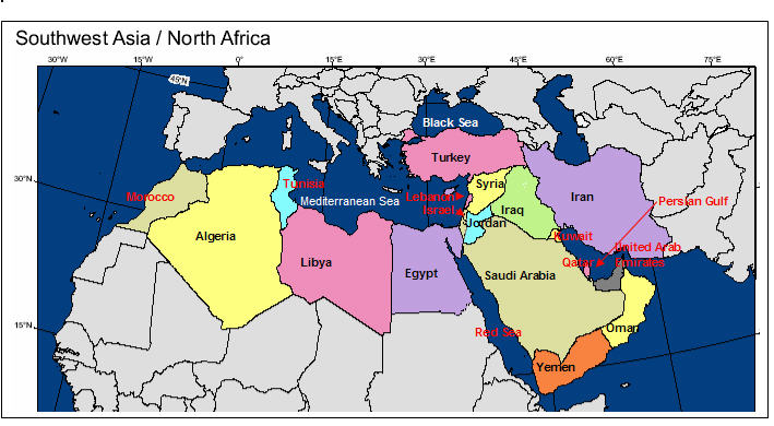 north africa southwest asia and central North africa, southwest asia and central asia.